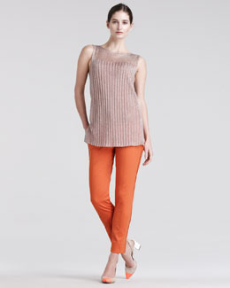 Reed Krakoff Metallic-Knit Top & Skinny Compact-Canvas Pants