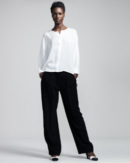 THE ROW Trapeze Blouse & Wide-Leg Pleated Pants