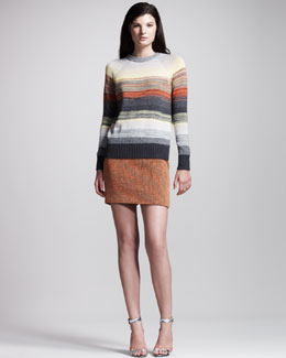 Proenza Schouler Degrade-Stripe Pullover & Basket-Weave Tweed Skirt