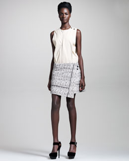Proenza Schouler Sleeveless Leather Top & Organza-Trim Tweed Wrap Skirt