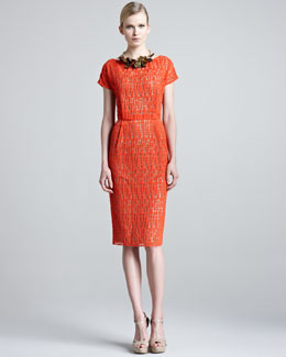 Lela Rose Jigsaw Lace Dress & Wood Squares Necklace