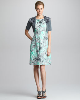 Lela Rose Rosette-Shoulder Shrug & Classic Jacquard Dress