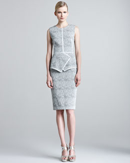 Lela Rose Knit Silk Shrug & Etched Jacquard Sheath Dress