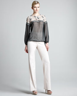 Lela Rose Lace-Shoulder Sheer Blouse & High-Waist Sateen Pants