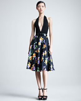 Ralph Lauren Collection Plunging Halter Bodysuit & Lenorah Floral-Print A-Line Skirt
