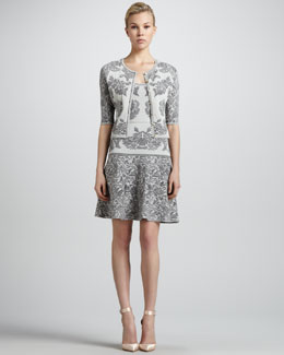 Zac Posen Bonded Jacquard Knit Cardigan & Flounce Dress