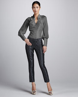 Zac Posen Folded-Collar Taffeta Blouse & Metallic Brocade Skinny Pants