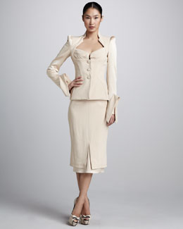 Zac Posen Sculptural Suiting Jacket & Crepe Midi Skirt