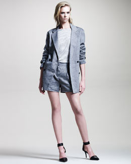 T by Alexander Wang Linen Double-Breasted Blazer, Striped Long-Sleeve Tee & Pleated Shorts