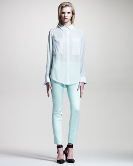 T by Alexander Wang Silk Combo Blouse & Stretch-Twill Trousers