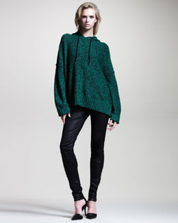 T by Alexander Wang Heathered Oversize Hoodie & Stretch-Leather Skinny Pants