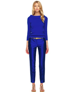 Michael Kors  Cashmere Cuff-Neck Sweater & Samantha Slim Shantung Pants