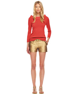 Michael Kors  Cashmere Cuff-Neck Sweater, Shantung Shorts & Metallic Leather Belt