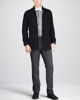 John Varvatos Layered Cable Sweater, Slim Contrast-Collar Shirt & Flight Pants