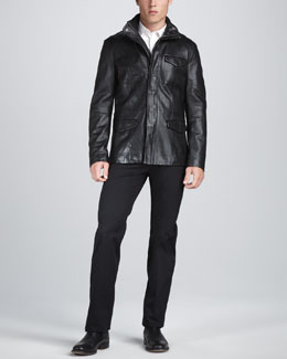 John Varvatos Leather Military Jacket, Slim-Fit Dress Shirt & Straight-Leg Trousers