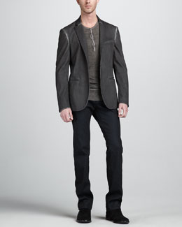 John Varvatos Hook-and-Bar Jacket, Reverse-Print Henley & Straight-Leg Navy Jeans