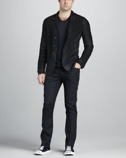 John Varvatos Suede Hook-and-Bar Jacket, Linen V-Neck Tee & Straight-Leg Navy Jeans