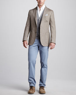 Ermenegildo Zegna Soft Herringbone Blazer, Wool/Cashmere Sweater Vest & Flat-Front Cotton Trousers