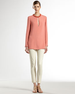 Gucci Jewel-Embroidered Silk Tunic & Stretch Skinny Pants