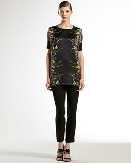 Gucci Tiger Flower-Print Oversized T-Shirt & Matte Satin Holiday Pants