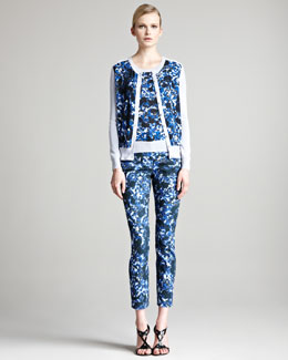 Erdem Una Floral Cardigan, Short-Sleeve Sweater & Esmeralda Stretch Trousers