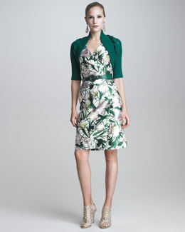 Oscar de la Renta Shrug with Cabled Details & V-Neck Faux-Wrap Dress