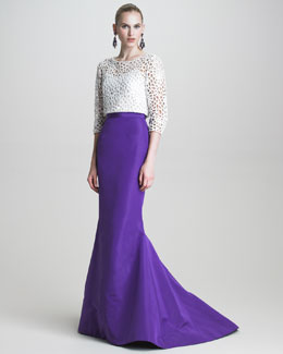 Oscar de la Renta Guipure Lace Blouse with Sequins & Faille Fishtail Skirt