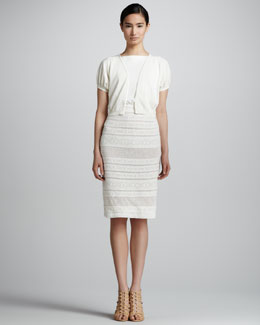 Giambattista Valli Puff Sleeve Bolero & Sleeveless Knit Dress