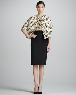Giambattista Valli Leopard-Print Silk Shantung Jacket, Sleeveless Shell & Pencil Skirt