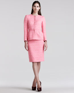 Giambattista Valli Tweed Peplum Jacket & Pencil Skirt