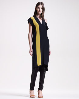 Maison Martin Margiela Colorblock V-Neck Dress & Leather-Panel Stretch Leggings