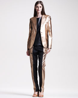 Maison Martin Margiela Metallic-Leafed Suit & Leather Tee
