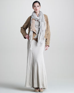 Donna Karan Intarsia Shearling Drape Jacket, Tissue Jersey Tank, Long Gored Skirt, Gauze Scarf & Leather Hook Belt