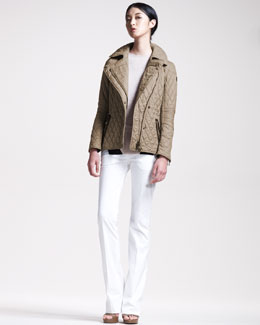Belstaff Quilted Biker Jacket, Intarsia Sweater & Stretch-Sateen Pants