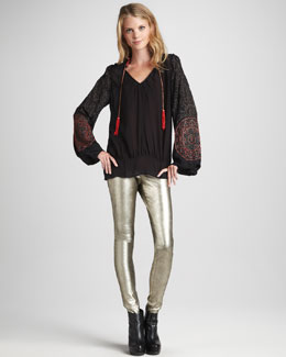 Skaist Taylor Embroidered Beaded Peasant Top & Metallic Leather Leggings