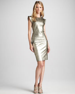 Skaist Taylor Metallic Leather Top & Pencil Skirt