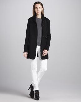 Burberry London Chunky Double-Breasted Cardigan & Skinny Ankle-Zip White Jeans