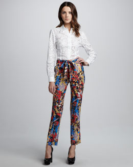 Catherine Malandrino Cutout Button-Down Blouse & Printed Tie-Waist Pants