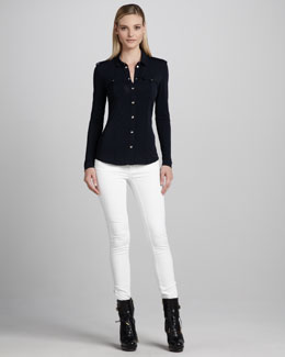 Burberry London Jersey Military Shirt & Skinny Ankle-Zip White Jeans