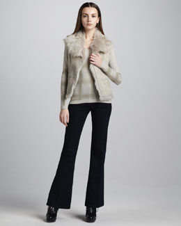 Burberry London Shearling Hook-and-Eye Vest, Check-Print Cashmere Sweater & Flared Stretch Jeans