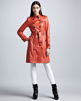 Burberry London Lightweight Leather Trenchcoat & Skinny Ankle-Zip White Jeans