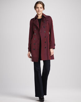Burberry London Beaded Gabardine Trenchcoat & Flared Stretch Jeans