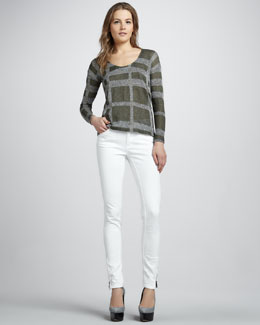 Burberry London Check Silk-Linen Sweater & Skinny Ankle-Zip White Jeans