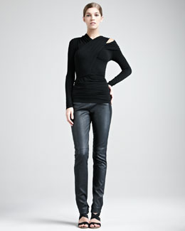 Donna Karan Cold-Shoulder Jersey Top & Jersey-Stripe Leather Pants