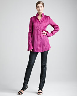 Donna Karan Tailored Organza Shirt & Jersey-Stripe Leather Pants