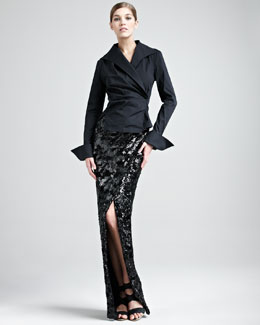 Donna Karan Stretch-Taffeta French-Cuff Shirt & Swirl-Sequin Scissor Skirt
