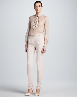 Valentino Lace Voulant Chiffon Blouse & Full-Length Georgette Pants