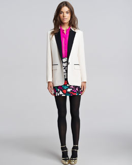Nanette Lepore Contrast-Trim Crepe Blazer, Sheer-Panel Silk Blouse & Animal-Print Wrap Skirt