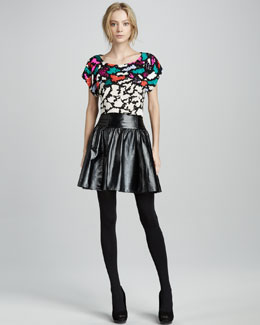 Nanette Lepore Confetti Animal-Print Top & Warrior Princess Leather Skirt