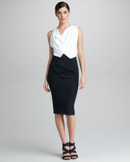 Donna Karan Asymmetric Draped Skirt & Draped Cowl-Neck Top
